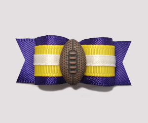 "#0852 - 5/8"" Dog Bow - Football, Purple & Yellow"