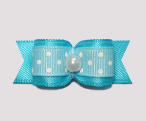 "#0857 - 5/8"" Dog Bow - Sweetheart Dots, Electric Blue"
