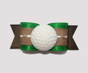 "#0858 - 5/8"" Dog Bow - Golf Ball, Green & Brown"
