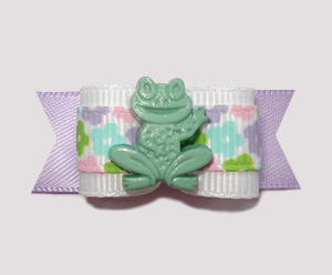 "#0864 - 5/8"" Dog Bow - Happy Little Froggy, Sweet Pastel Flowers"