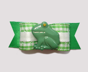 "#0865 - 5/8"" Dog Bow - Cute Little Picnic Frog, Green Gingham"