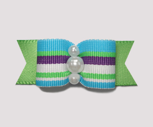 "#0872 - 5/8"" Dog Bow - Fun Boy Stripe on Summer Green"