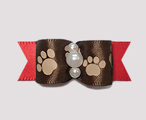 "#0886 - 5/8"" Dog Bow - Pawsitively Cute Paws, Brown/Rich Red"