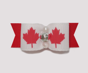 "#0897 - 5/8"" Dog Bow - Canada - Maple Leaf, Faux Pearls & Silver"