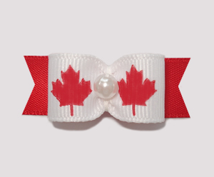 "#0899 - 5/8"" Dog Bow - Canada - Maple Leaf, Faux Pearl"