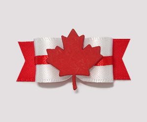 "#0900 - 5/8"" Dog Bow - Canada - Maple Leaf, Red & White Satin"
