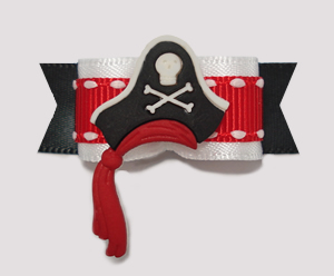 "#0901 - 5/8"" Dog Bow - Fantastic Pirate Hat with Red Sash"