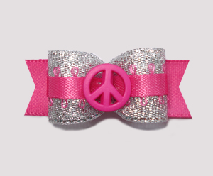 "#0902 - 5/8"" Dog Bow - Fun, Glam Girl Peace - Silver & Hot Pink"