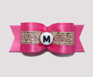 "#0903- 5/8"" Dog Bow- Custom - Hot Pink/Gold - Choose Your Letter"