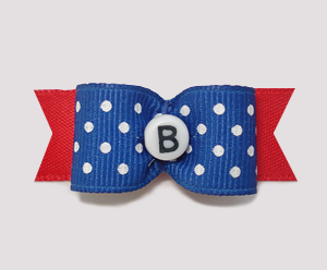 "#0904- 5/8"" Dog Bow- Custom - Blue/Dots/Red - Choose Your Letter"