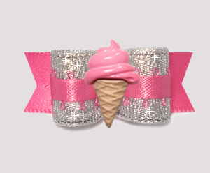 "#0906 - 5/8"" Dog Bow - Party Pink & Silver, Pink Ice Cream Cone"