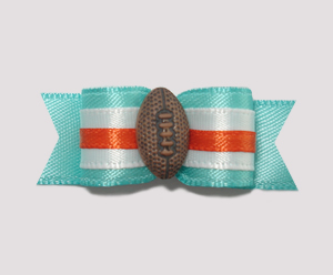 "#0913 - 5/8"" Dog Bow - Football, Light Teal with Orange Trim"