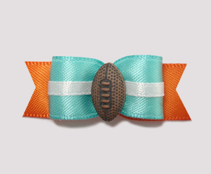 "#0914 - 5/8"" Dog Bow - Football, Light Teal & Orange"