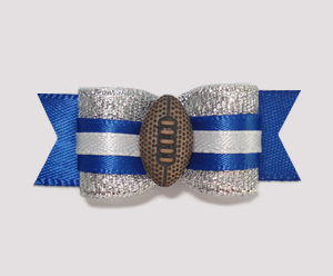 "#0922 - 5/8"" Dog Bow - Football, Silver with Blue & White"
