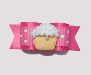 "#0926 - 5/8"" Dog Bow - Little Cupcake, Sweet Dots, Hot Pink"