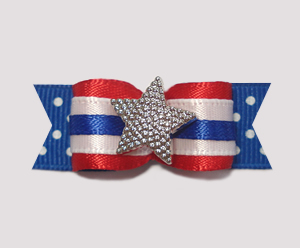 "#0930- 5/8"" Dog Bow - Independence Day, Patriotic Star & Stripes"