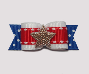 "#0932 - 5/8"" Dog Bow - Independence Day, Patriotic Star"