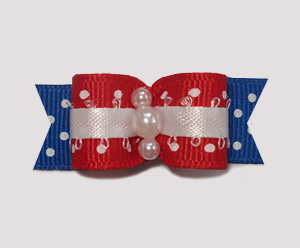 "#0934 - 5/8"" Dog Bow - Patriotic Dots, Red/White/Blue, Pearls"