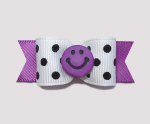 "#0935 - 5/8"" Dog Bow - Chic Black/White, Orchid Purple, Smiley"