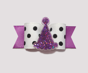 "#0936 - 5/8"" Dog Bow- Chic B/W, Orchid Purple, Sparkly Party Hat"