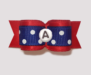 "#0944 - 5/8"" Dog Bow- Custom Red/Blue, White Dots, Choose Letter"