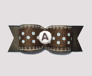 "#0947 - 5/8"" Custom - Chocolate Brown/White Dots, Choose Letter"