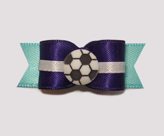 "#0948 - 5/8"" Dog Bow - Soccer, Purple & Teal"