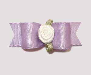 "#0959 - 5/8"" Dog Bow - Simple Sweet Lavender with Rosette"