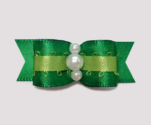 "#0966 - 5/8"" Dog Bow - Satin, Deep Green on Green, Faux Pearls"
