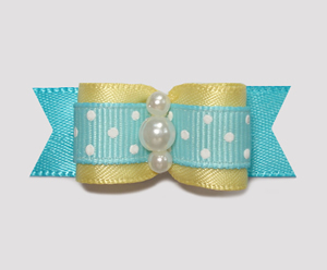 "#0974 - 5/8"" Dog Bow - Sweet Baby Yellow, Blue w/Tiny White Dots"