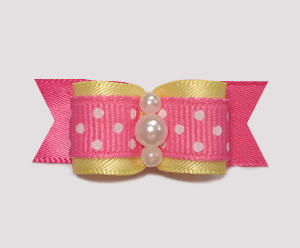 "#0975 - 5/8"" Dog Bow - Sweet Yellow, Pink w/Tiny White Dots"