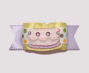 "#0976 - 5/8"" Dog Bow - Yummy Birthday Cake, Lavender/Yellow"