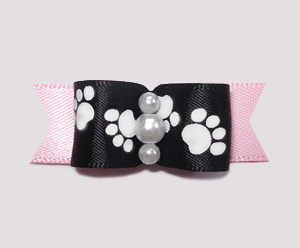"#0982 - 5/8"" Dog Bow - Pawsitively Cute Paws, Black/Baby Pink"