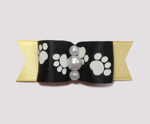 "#0984 - 5/8"" Dog Bow - Pawsitively Cute Paws, Black/Baby Yellow"