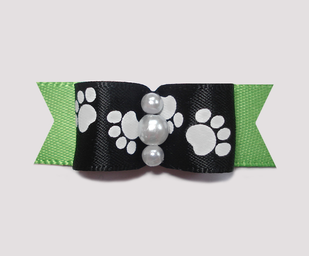 "#0985 - 5/8"" Dog Bow - Pawsitively Cute Paws, Black/Soft Green"