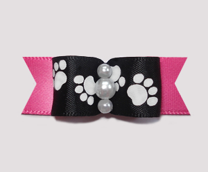 "#0987 - 5/8"" Dog Bow - Pawsitively Cute Paws, Black/Hot Pink"