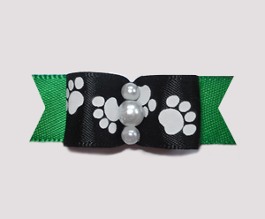 "#0990 - 5/8"" Dog Bow - Pawsitively Cute Paws, Black/Deep Green"