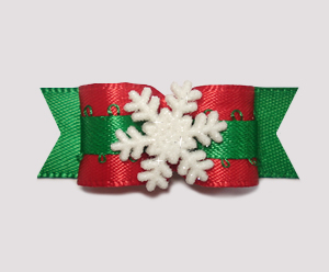 "#0994 - 5/8"" Dog Bow - Wonderful Winter Snowflake, Red & Green"