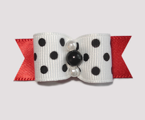"#0996 - 5/8"" Dog Bow - Chic & Trendy Red & Black, Dots"