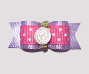 "#0998 - 5/8"" Dog Bow - Adorable Lavender & Pink, Rosette"