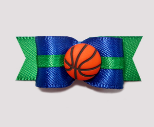"#1009 - 5/8"" Dog Bow - Basketball, Blue on Green w/Green Trim"