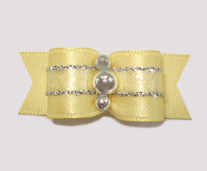 "#1013 - 5/8"" Dog Bow - Sweet Baby Yellow with Silver Twinkle"