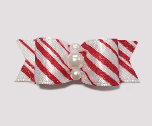 "#1015 - 5/8"" Dog Bow - Candy Cane Stripe, Faux Pearls"