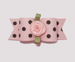 "#1017 - 5/8"" Dog Bow - Parisian Pink with Rosette"