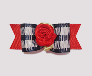 "#1020 - 5/8"" Dog Bow - Trendy Plaid with Red Rosette"