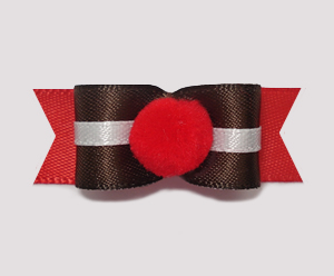 "#1021 - 5/8"" Dog Bow - Cute Pom-Pom, Rudolph's Red Nose"