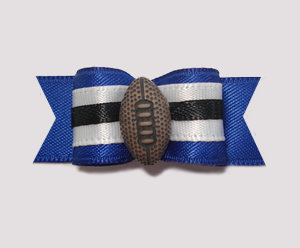 "#1024 - 5/8"" Dog Bow - Football, Blue & White"