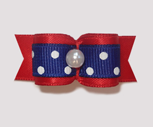 "#1032 - 5/8"" Dog Bow - Cute Red & Blue w/White Dots, Pearl"
