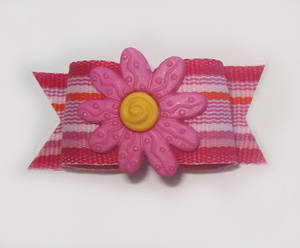 "#1036 - 5/8"" Dog Bow - Summer Fun, Pink Stripe, Pink Flower"