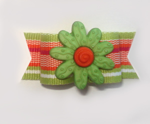 "#1039 - 5/8"" Dog Bow - Summer Fun, Citrus Stripe, Green Flower"
